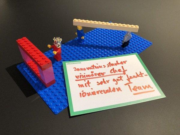 LEGO Serious Play Fallstudie: Wie mit Reflexionsfragen ein Team, das sich am Limit sah, aus dem Problemdenken in die Lösung geführt wurde.