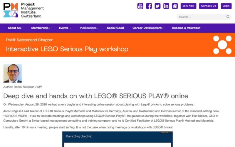 Blog Post über LEGO Serious Play mit Jens Dröge beim Project Management Institute PMI Switzerland
